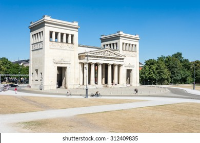 MUNICH, GERMANY - AUGUST 3: Tourits at the Koenigsplatz in Munich, Germany on August 3, 2015. During the third reich the square was used for Nazi parties.