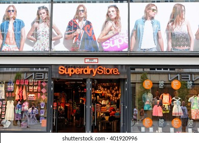 MUNICH, GERMANY - AUGUST 4, 2015: View at Superdry Store in Munich. It is a British international branded clothing company founded at 1985.