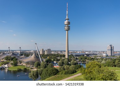 Munich, Germany - August 7th, 2016 - built for the 1972 Olympic Games, the Olympiapark continues to serve as a venue for cultural and sports events. Here in particular an overview of the complex
