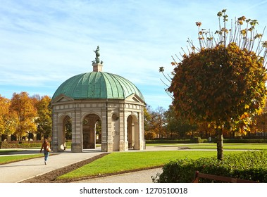 Munich, Germany, autumnal view of the Hofgarten round pavilion in the baroque garden built in 17th century by Maximilian I, Elector of Bavaria in Italian  Renaissance style