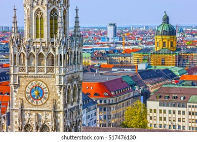 Munich, Germany, Bavaria. Marienplatz town hall architecture