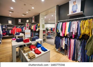 MUNICH, GERMANY - CIRCA JANUARY, 2020: interior shot of United Colors of Benetton store in Munich Airport.