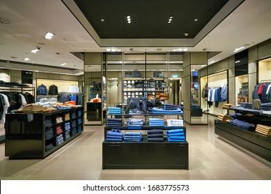MUNICH, GERMANY - CIRCA JANUARY, 2020: interior shot of Hugo Boss store in Munich Airport.