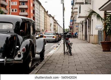 MUNICH, GERMANY - CIRCA OCTOBER, 2016: Old Medcedes parked on streets of the old town. Germans care about their cars.