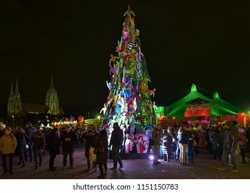 MUNICH, GERMANY - DECEMBER 15, 2017: Christmas tree at Tollwood Winter Festival on Theresienwiese. The festival is combined Christmas market and exhibition of cultural, political and scientific events