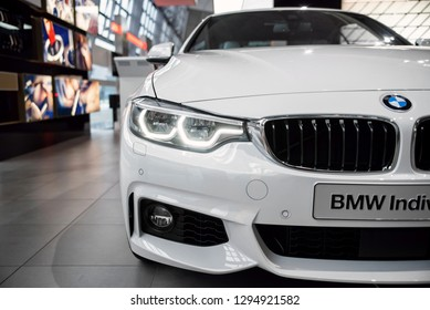 Munich, Germany - December 16, 2018: Exhibition of new models of BMW cars at BMW Welt. BMW M4 individual exterior details.