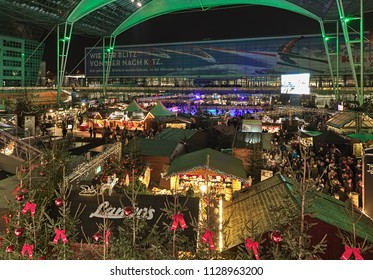 MUNICH, GERMANY - DECEMBER 17, 2017: Christmas and Winter Market with ice rink in the Munich Airport. The market is running at the Munich Airport Center Forum from 11am to 9pm through 30 December.