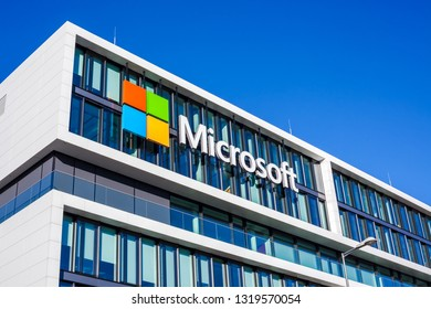MUNICH, GERMANY - DECEMBER 26, 2018: Microsoft logo at the company office building located in Munich, Germany