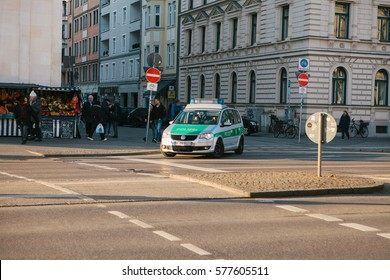 Munich, Germany, December 27, 2016: Police car on a city street.