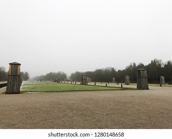 Munich, Germany - December 29, 2018:  The park of Nymphenburg Palace in winter in Munich, Germany.