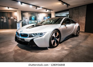 Munich, Germany - December 7, 2017: Front view of BMW i8 electric sports car in BMW Welt World