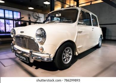 Munich, Germany - December 7, 2017: Retro car Austin Mini Cooper at a garage