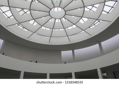 MUNICH, GERMANY - DECEMBER 9, 2018: The glass dome of Pinakothek der Moderne museum (Gallery of the Modern)