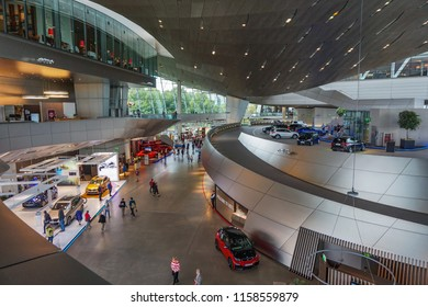 MUNICH, GERMANY, EUROPE - JUNE 2018: Interior of BMW museum. The BMW Museum is located near the Olympiapark in Munich and was established in 1972 shortly before the Summer Olympics.