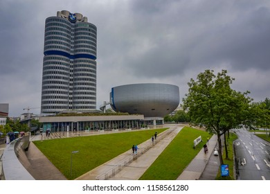 MUNICH, GERMANY, EUROPE - JUNE 2018: BMW Headquater Office Building, built 1968-1973 (German: BMW-Vierzylinder also BMW Tower or BMW Hochhaus). There is also the BMW Museum near Olympiapark in Munich.