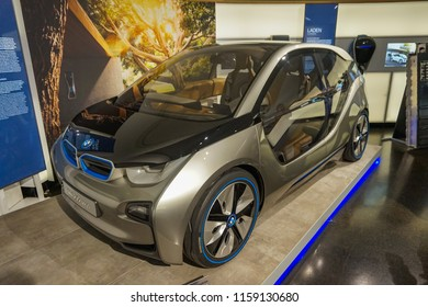 MUNICH, GERMANY, EUROPE - JUNE 2018: BMW i3 Concept - the Mega City Vehicle at the BMW Museum in Munich