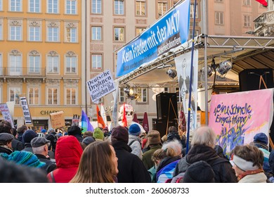 Munich, Germany - February 07, 2015: Antiwar peaceful demonstration or protest action against the policy of NATO in Central and East Europe