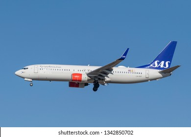 Munich, Germany - February 13. 2019 : SAS Scandinavian Airlines Boeing 737-85P with the aircraft registration LN-RRF in the approach to the northern runway of the Munich airport MUC EDDM