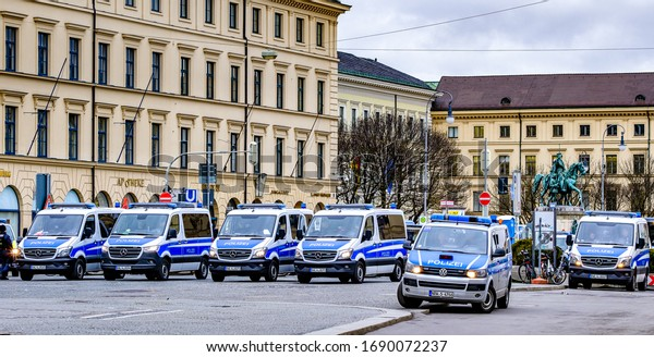 Munich, Germany - February 14: typical german police cars in Munich Ludwigsstrasse on February 14, 2010
