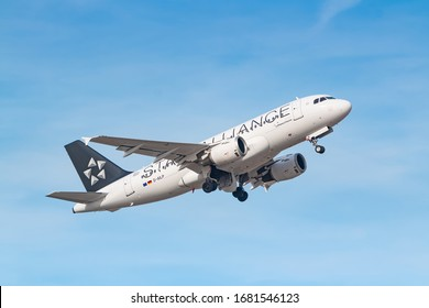Munich, Germany - February 15, 2020: Lufthansa Airbus A319 airplane at Munich airport (MUC) in Germany. Airbus is an aircraft manufacturer from Toulouse, France.