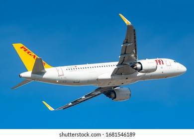 Munich, Germany - February 15, 2020: Pegasus Airlines Airbus A320 Neo airplane at Munich airport (MUC) in Germany. Airbus is an aircraft manufacturer from Toulouse, France.