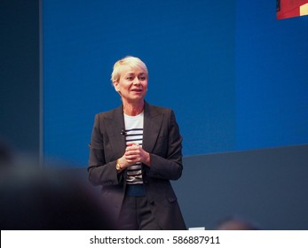 MUNICH, GERMANY - FEBRUARY 16, 2017: IBM Watson IoT General Manager Harriet Green delivers an address to IBM Genius of Things Summit in Munich, Germany on February 16, 2017.