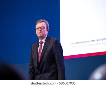 MUNICH, GERMANY - FEBRUARY 16, 2017: Bosch Software Innovations CEO Rainer Kallenbach delivers an address to IBM Genius of Things Summit in Munich, Germany on February 16, 2017.