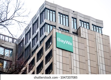 MUNICH / GERMANY - FEBRUARY 16 2018: The BayWa AG is a trading and services Group of the three operating segments Agriculture, Energy and Building Materials
