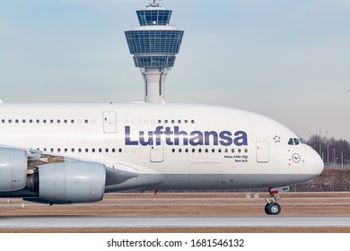 Munich, Germany - February 16, 2020: Lufthansa Airbus A380 airplane at Munich airport (MUC) in Germany. Airbus is an aircraft manufacturer from Toulouse, France.