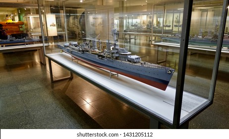 MUNICH, GERMANY - FEBRUARY 2, 2016: Miniature model of the German battleship Bismarck, the famed ship was commissioned into the German fleet in August 1940.