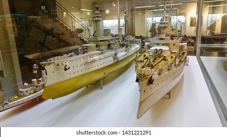MUNICH, GERMANY - FEBRUARY 2, 2016: Miniature of the German battleship SMS Braunschweig and SMS Prince Bismarck on Maritime exhibition display in German Museum in Munich.