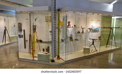 MUNICH, GERMANY - FEBRUARY 2, 2016: Geodesy or Surveying and mapping exhibition stand in the German Museum of science and technology in Munich.
