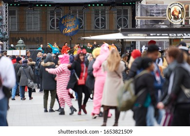 """Munich, Germany - February 23, 2020: the group from the dance school Wolfgang Steuer animated the main stage from the carnival street festival """"München Narrisch"""""""