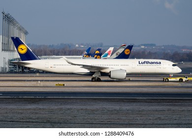 MUNICH / GERMANY - FEBRUARY 5, 2018: Lufthansa Airbus A350-900 D-AIXD passenger plane taxiing at Munich Airport