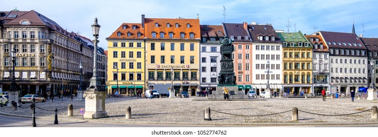 Munich, Germany - February 6: old houses in the city of munich at the residenzstrasse in munich, germany on February 6, 2018