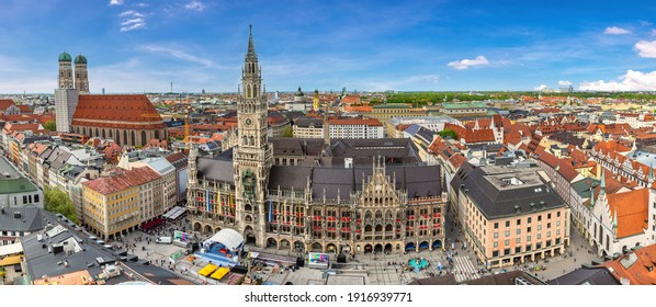 Munich Germany, high angle view panorama city skyline at Marienplatz new Town Hall Square