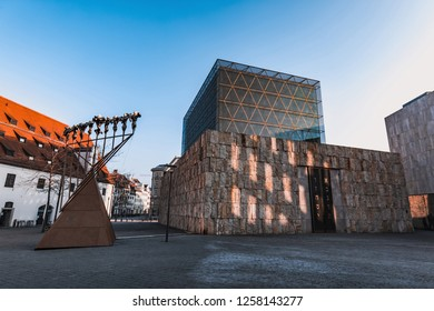 MUNICH GERMANY - January 01, 2017: Ohel Jakob synagogue in Munich on a sunny cold day