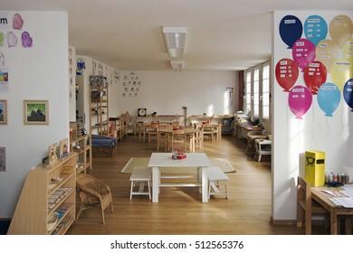 Munich - Germany - January 1, 2000: inside of classroom in a kindergarten