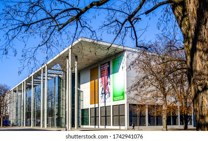 Munich, Germany - January 22: facade of the famous Museum Pinakothek der Moderne in munich on January 22, 2020