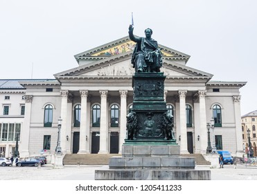 MUNICH, GERMANY - JANUARY, 27 2018: National Theater and Max I Joseph Monument on Max-Joseph-Platz in Munich, Germany