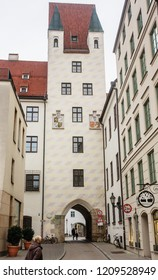 MUNICH, GERMANY - JANUARY, 27 2018: Bilding of Old Court in Munich, Germany. The Court is the former residence of Louis IV, Holy Roman Emperor.