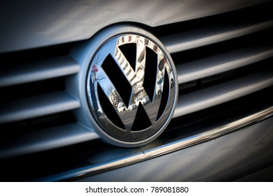 Munich, Germany - January 6, 2018. Volkswagen VW Badge on car bonnet.
