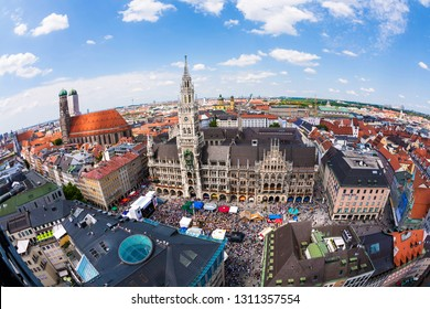 MUNICH, GERMANY - JUL 9, 2011: Aerial view  to Marienplatz, New Town Hall and Frauenkirche in Munich, Germany.