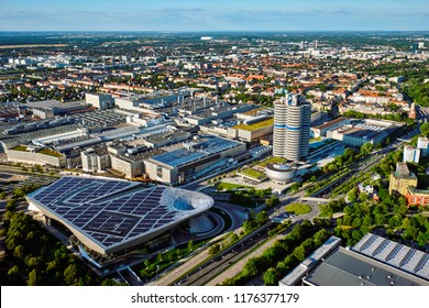 MUNICH, GERMANY - JULY 08, 2018: Aerial view of BMW Museum and BWM Welt and factory and Munich from Olympic Tower. BMW is a famous German luxury car automaker.