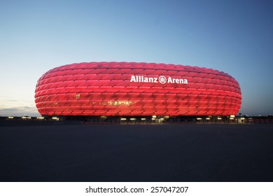 MUNICH, GERMANY - JULY 1, 2013: Detail of the membrane shell of the football stadium Allianz Arena in Munich, Germany, designed by Herzog & de Meuron and ArupSport.