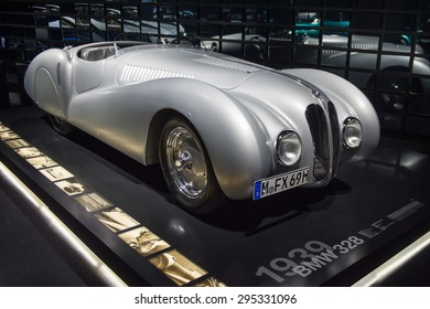 MUNICH, GERMANY - JULY 1, 2015: Classic BMW cars at the BMW Museum, an automobile museum in Munich, Germany. It was established in 1972