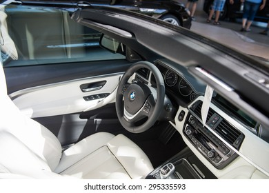 MUNICH, GERMANY - JULY 1, 2015: BMW Cabrio at the BMW Welt, a customer experience and exhibition facility of the BMW AG, Munich, Germany