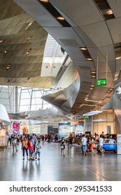 MUNICH, GERMANY - JULY 1, 2015: Interior of the BMW Welt, a customer experience and exhibition facility of the BMW AG, Munich, Germany