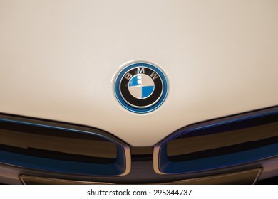 MUNICH, GERMANY - JULY 1, 2015: BMW i8 at the BMW Welt, a customer experience and exhibition facility of the BMW AG, Munich, Germany