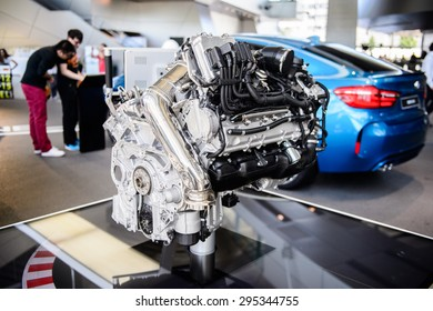 MUNICH, GERMANY - JULY 1, 2015: Motor a the BMW Welt, a customer experience and exhibition facility of the BMW AG, Munich, Germany